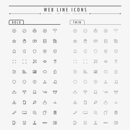 web minimal outline icons on bold and thin line concept vector
