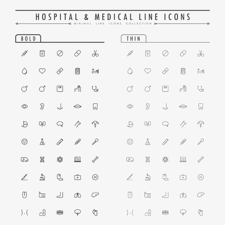 medical icons: hospital and medical line icons on bold and thin line concept vector