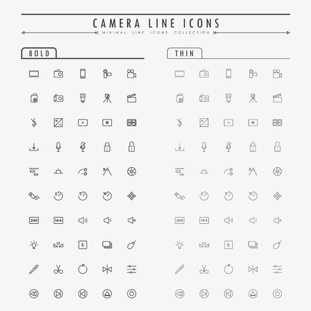 metering: camera minimal line icons on bold and thin line concept vector Illustration