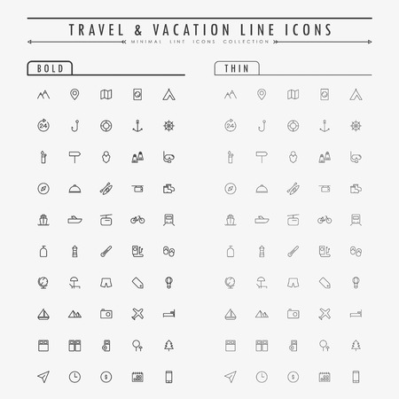 travel and vacation line icons on bold and thin line concept vector