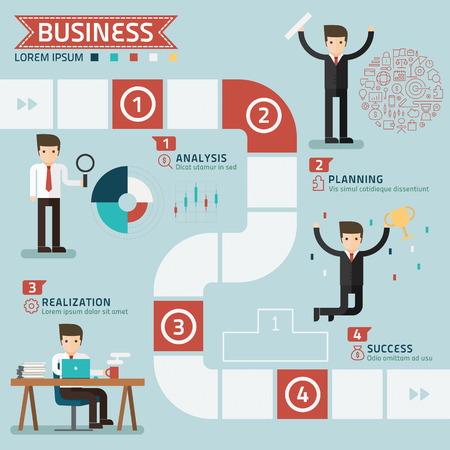 team success: step for success business concept vector