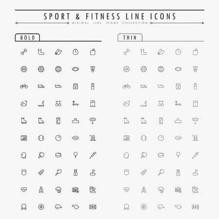 Lo sport e la linea di fitness icone sul concetto di linea audace e sottile vettore Archivio Fotografico - 42217885