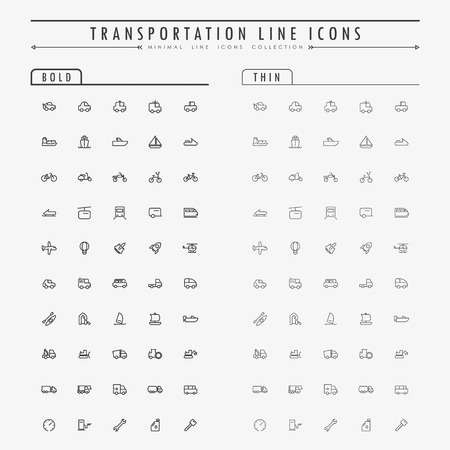 transportation line icons on bold and thin line concept vector
