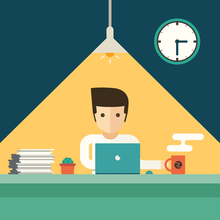 hard working man: businessman working overtime late night in office vector