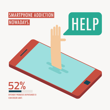 drowned: human get drowned on smartphone addiction infographic concept vector Illustration