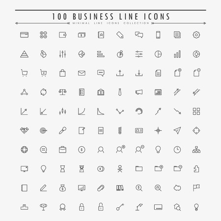 100 business and web minimal line icons collection vector Ilustracja