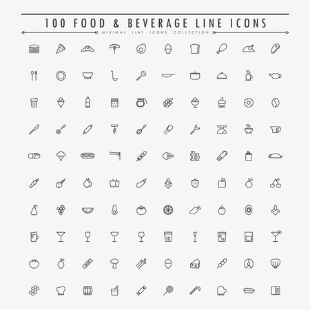 100 food and beverage line icons collection vector Banco de Imagens - 44541315