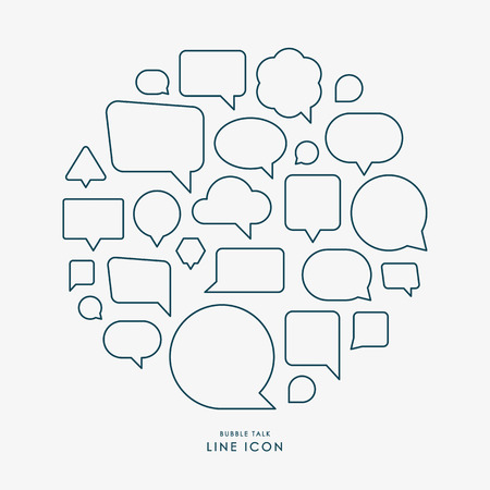 bubble talk: bubble talk minimal line icons infographic vector Illustration