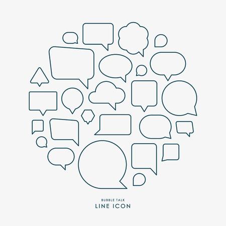 bubble talk minimal line icons infographic vector Ilustração
