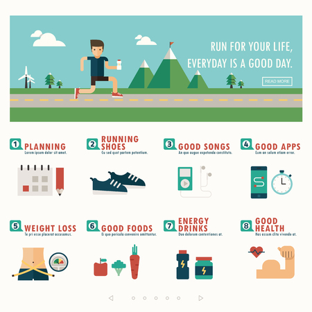 metrics: jogging banner and infographic vector