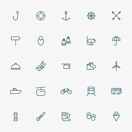 travel and vacation minimal line icons vector Illustration