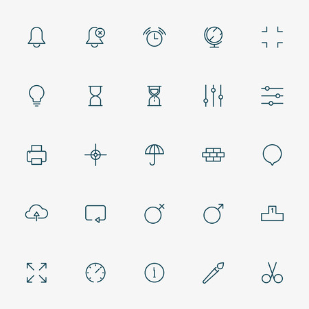 web minimal line icons on white background vector