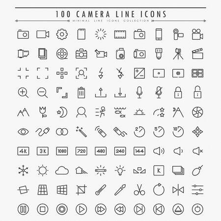 100 camera minimal line icons vector