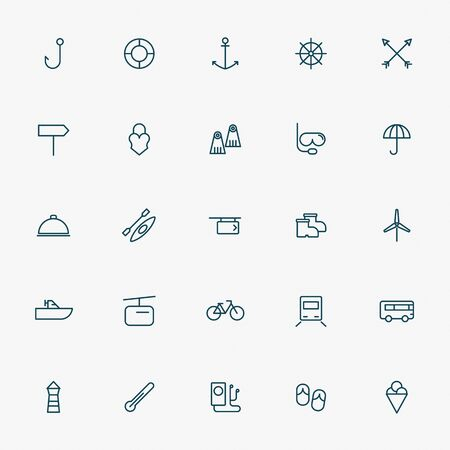 travel and vacation line icons vector