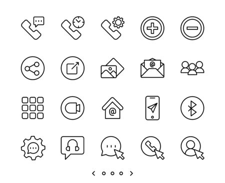 Phone system and call line icon set vector