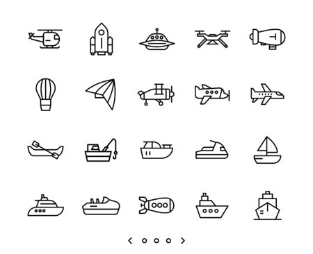 Airplane and ship transportation line icon set vector Illustration