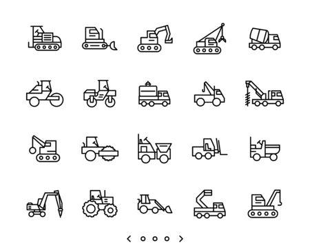 Construction Vehicles line icon set vector