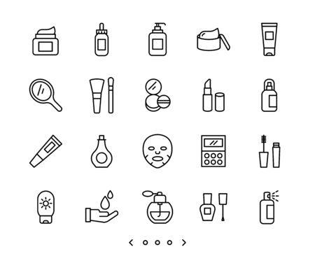 Cosmetic and Skin care line icon set vector