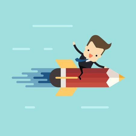 businessman drive pencil rocket to success vector