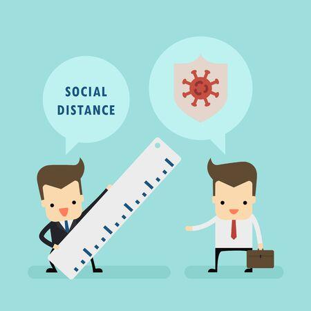 businessman in social distance concept vector Ilustração