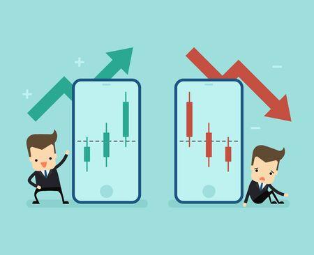 businessman invest in stocks market vector