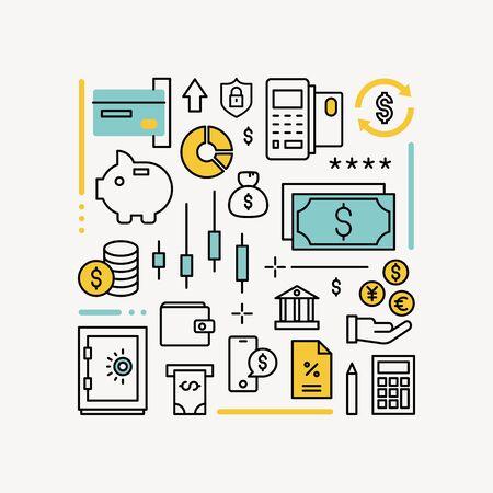 Finanz- und Geldzahlungs-Infografik-Umriss-Design-Stil-Vektor