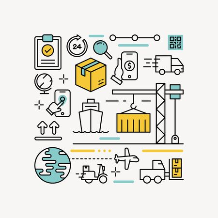 logistic and delivery infographic outline design style vector