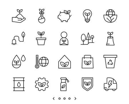 ecology and clean energy line icon set vector Ilustração