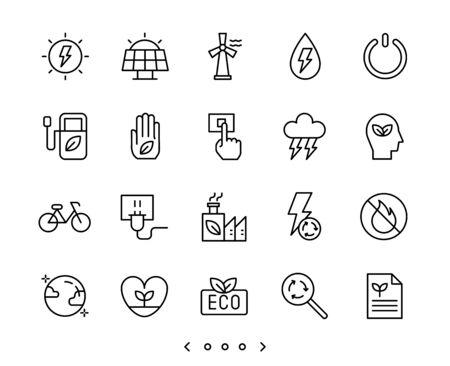 ecology and clean energy line icons set vector Ilustração