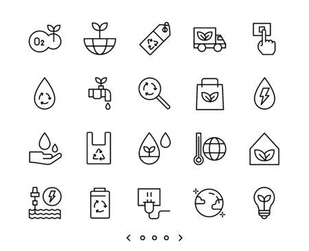 ecology and clean energy outline icon set vector Ilustração