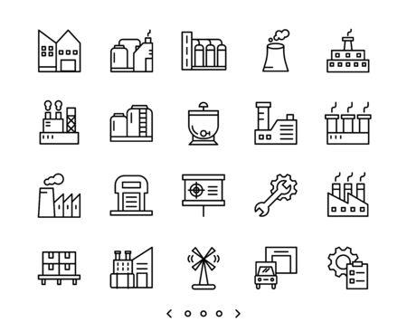 factory and industry line icon set vector Ilustração