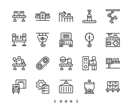 factory and industry mass production line icon set vector