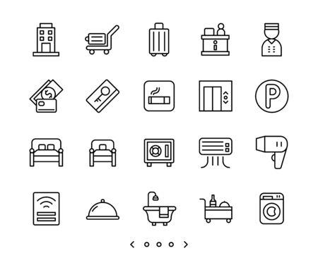 hotel facility and service line icon set vector Ilustração