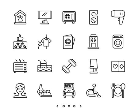 hotel facility and service line icons set vector