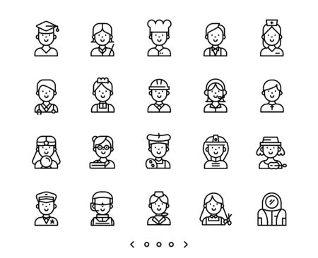 people occupation line icon set vector