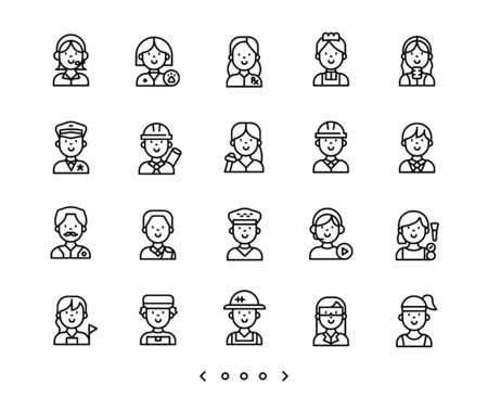 people occupation line icons set vector Ilustração