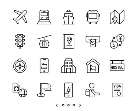 travel and vacation line icon set vector
