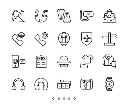 travel and vacation outline icon set vector Ilustração