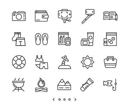 travel and vacation outline icons set vector Ilustração