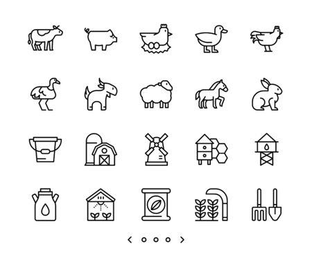 animal and farm line icon set vector Banco de Imagens - 150275924