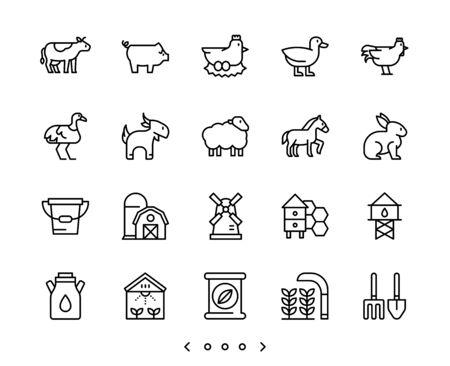 animal and farm line icon set vector