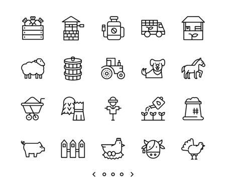 animal and farm line icons set vector