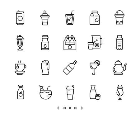 beverage line icons set vector