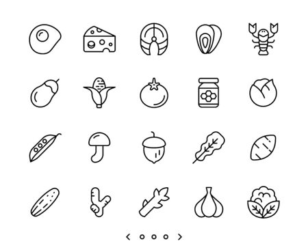 food and vegetable line icon set vector