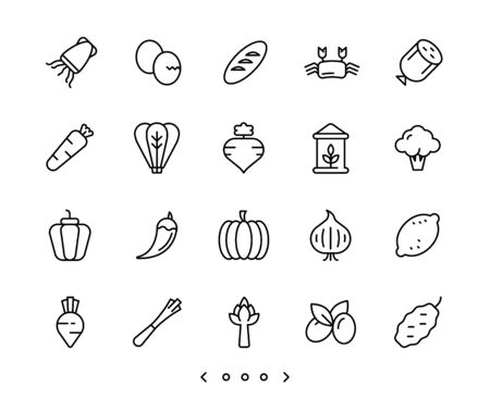 food and vegetable line icons set vector Vettoriali