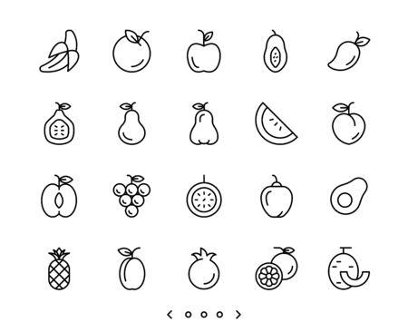 fruits line icon set vector Ilustração