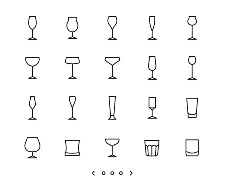 glassware line icon set vector