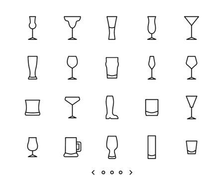 glassware line icons set vector