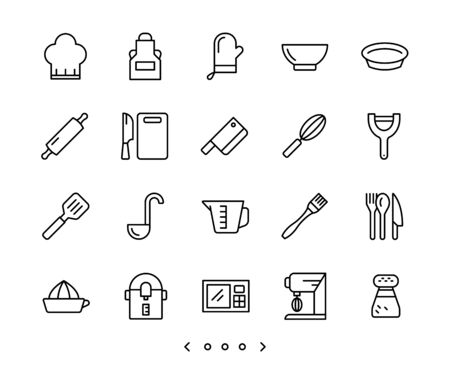 kitchen accessories line icon set vector