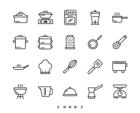 kitchen accessories line icons set vector Ilustração